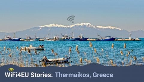 Thermaikos landscape, wifi4eu logo