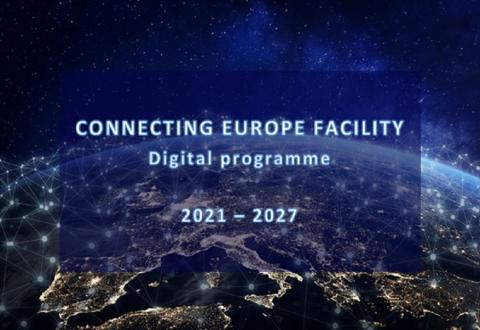 graphic showing a map of europe with interconnected cities and text Connecting Europe Facility Digital Programme 2021-2027