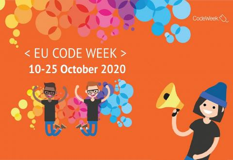 poster for EU Code Week 2020 showing joyful youngsters