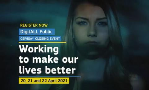 screenshot from promotional video of the conference with title and dates of the events shown with a background photo of a young woman