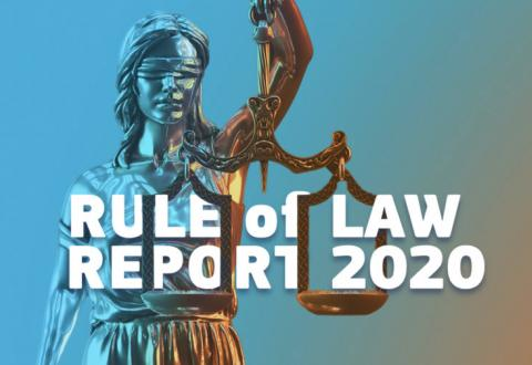 statue of Lady Justice with text Rule of Law Report 2020